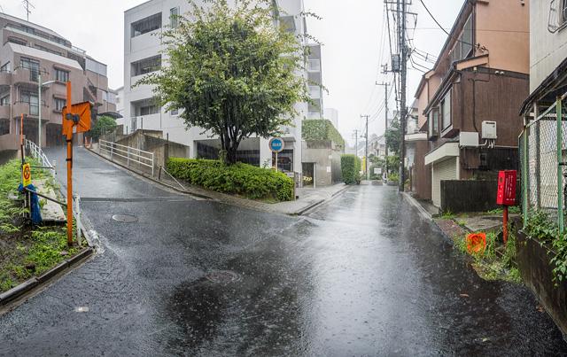 港区へ移動。なかなかいい立体Y字路。しかしこの雨!