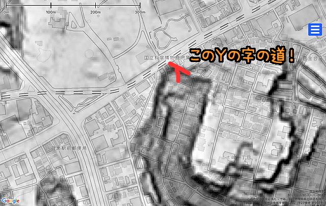 同じ範囲の地形図。目黒川へ流れ込んでいた支流のひとつの谷頭も谷頭。右の道(写真は目黒通りを背に南東を見ているので、地図では南への道)が崖を急降下するものであることがよく分かる。写真で平坦だった左の道(地図では南東への道)は崖のキワを行っていることがわかる。(国土地理院「基盤地図情報数値標高モデル」5mメッシュをカシミール3D スーパー地形セットで表示したものをキャプチャ・加筆加工)