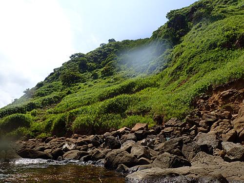 二ツ亀に近づいてみた。巨大な亀の甲羅に苔が生えているという感じ。
