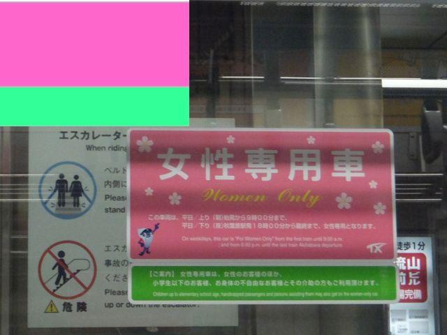 ピンクと緑で女性専用車旗