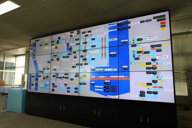 見ただけで複雑な運用が分かる利根大堰操作室のパネル(許可を得て撮影)