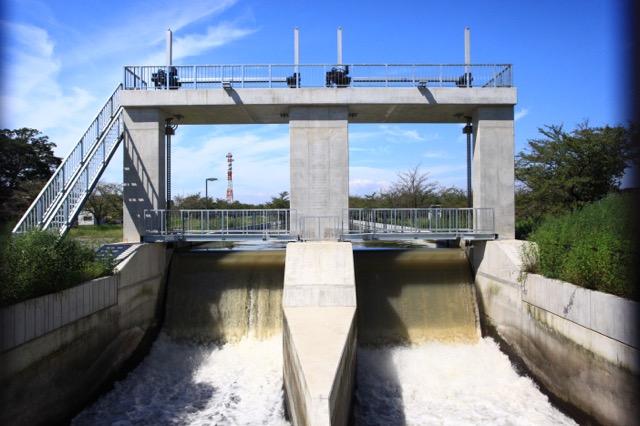 武蔵水路入口で流入量を調節している水門