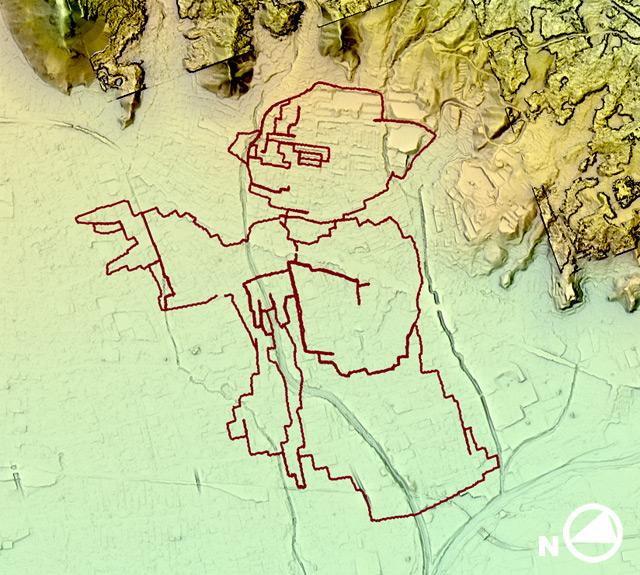 頭頂部あたりは山裾に達しかけている。地形図見てるだけで当時のつらさが蘇ってくる。(国土地理院「基盤地図情報数値標高モデル」5mメッシュをカシミール3D スーパー地形セットで表示したものをキャプチャ・加筆加工)