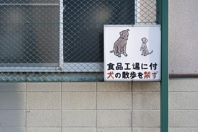 ゴール近くの食品工場にあったかわいい犬の絵の看板とか。