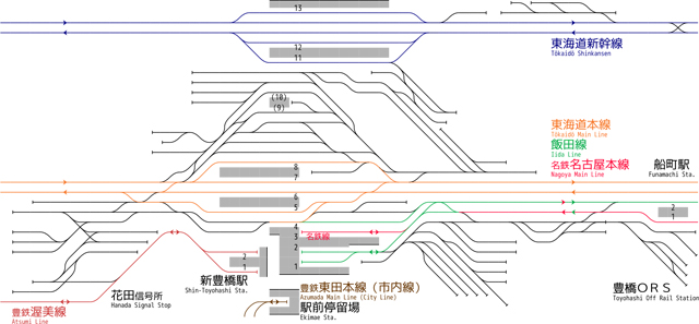 豊橋駅配線略図・By ButuCC - 投稿者自身による作品CC 表示-継承 3.0(https://ja.wikipedia.org/wiki/%E8%B1%8A%E6%A9%8B%E9%A7%85#/media/File:Rail_Tracks_map_Toyohashi_Station.svg)