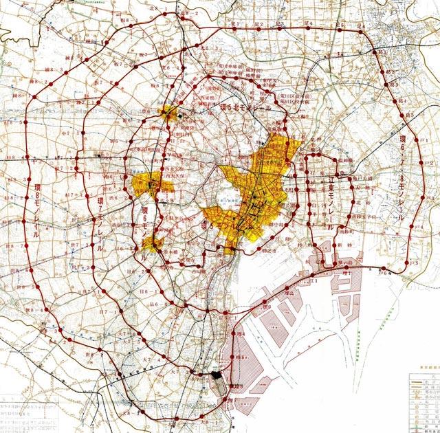 東京都首都整備局作成「モノレール開発計画報告書」・投稿:骨まで大洋ファン@ベイスターズCSへGO