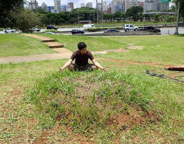これがハキリアリの巣(兼キノコ農場)だ!アリ塚というやつか。…立派だ。
