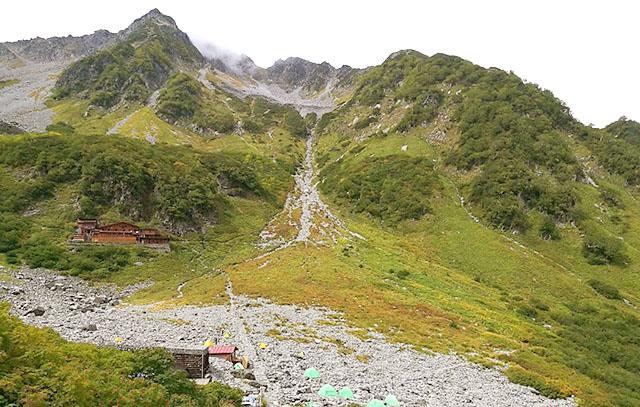 左に見える岩峰が北穂高。この辺が一般登山者が登れる最も難しい登山エリアである(実は登った事はない)。