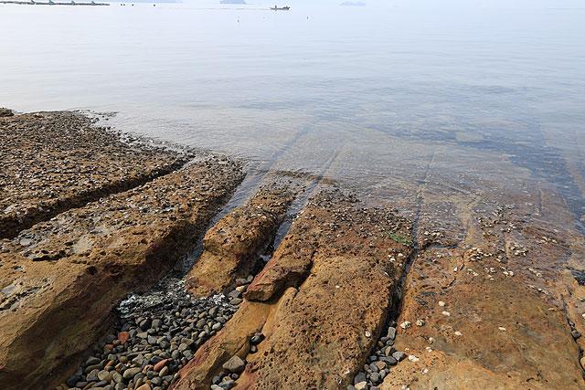 化石とかありそうな地層。
