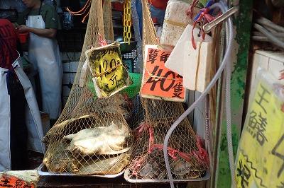 左はスッポン。右は…「草亀」と書かれているが、実はアカミミガメ。なんでも食うんだな。香港の人たち。