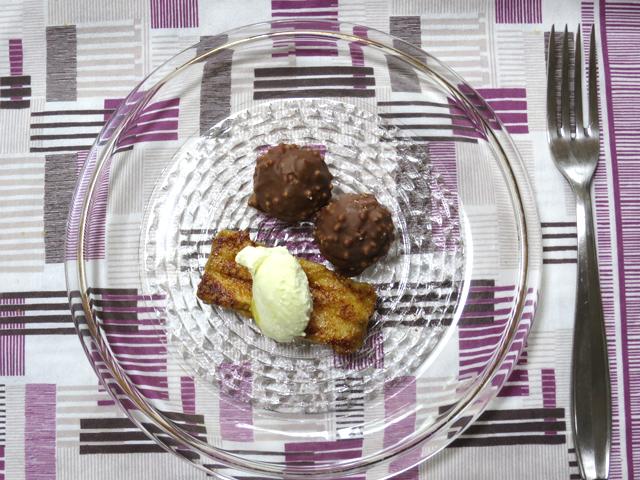 麩菓子のフレンチトーストと鈴カステラのトリュフ仕立て