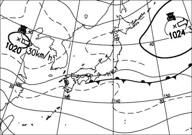 2007年9月30日。気象庁天気図。