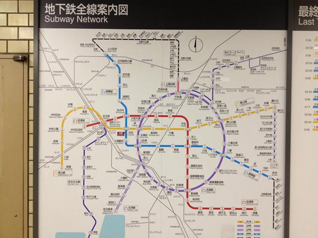 名古屋の地下鉄路線図・撮影:西村