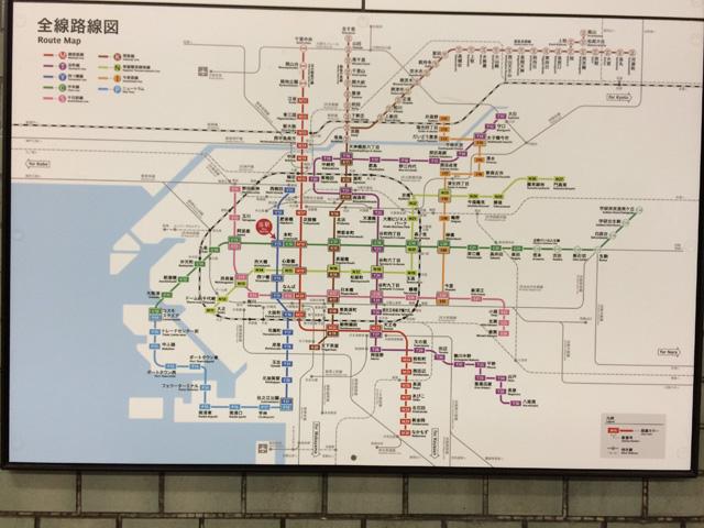 大阪の地下鉄路線図・撮影:西村