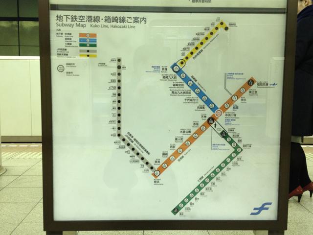 福岡の地下鉄路線図・撮影:西村