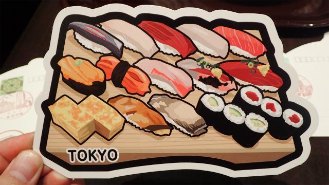 寿司の形のポストカード、120円切手を貼ればはがきとして郵送できる