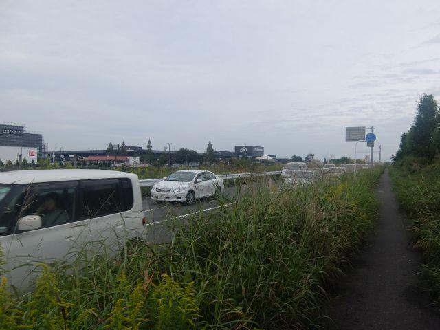 相当遠くからジョイフル本田を見る。これでようやっと全貌が見える感じ。