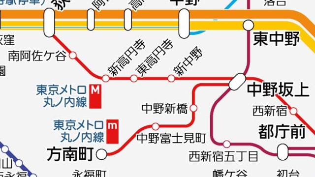 方南町に行く路線が中野坂上駅始発っぽく描いてある