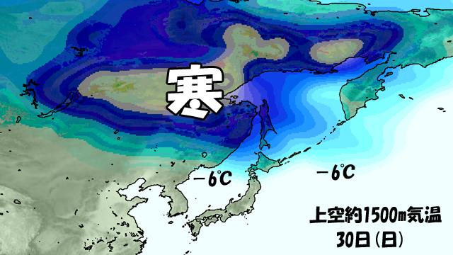 上空1500mで-6℃以下が、平地でも雪が降る目安。週末は青森が微妙なライン。