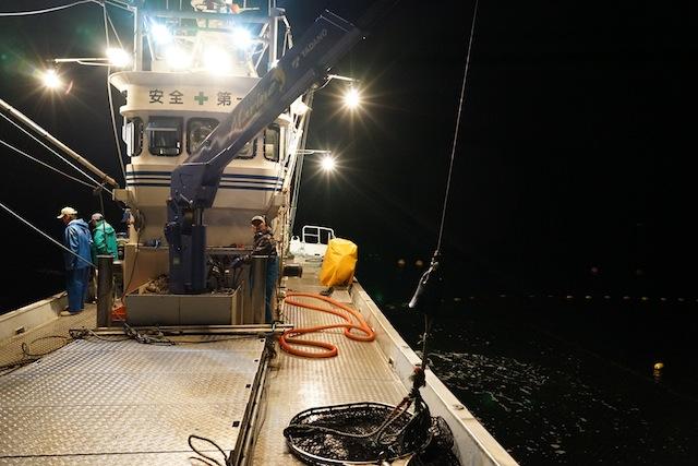魚を取り出すためのでかいタモ網がクレーンに付けられて…