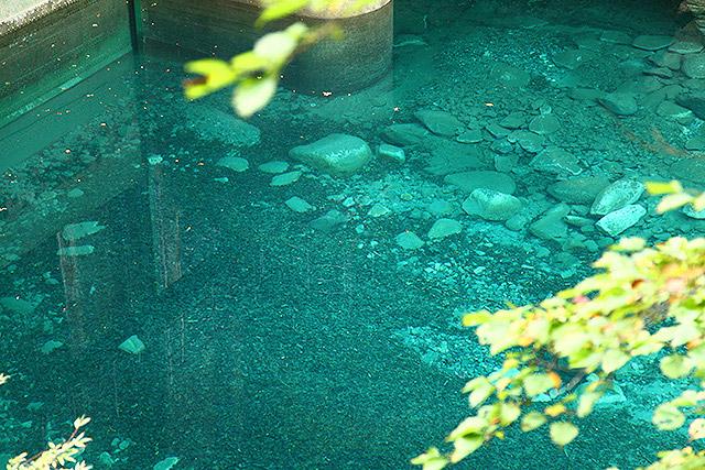水は透明度が高く、確かにキレイだが、ブルーと言うよりは青緑。ビリジアンっぽい。