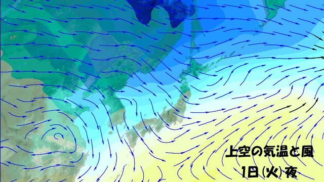 矢印は風。北風にのって、今週は冷たい空気がどんどんやってくる。