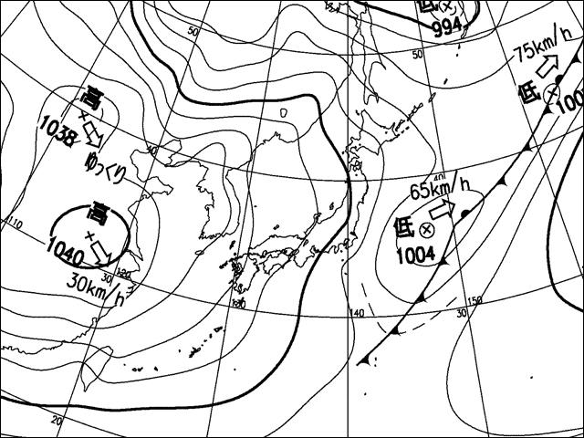 2009年11月3日。気象庁天気図。