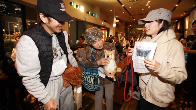 左から、長い紐で犬を散歩させている人、年配女性、飼い犬を探している人