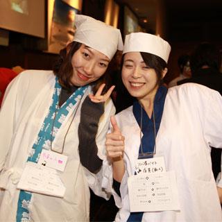 寿司屋とそば屋バイト(帽子が違う)