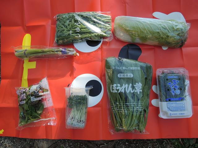 アスパラ、春菊、白菜、ベビーリーフ、かいわれ大根、おかひじき。ほうれん草は春菊と大差なかったので使いませんでした(ただただ食べただけ)