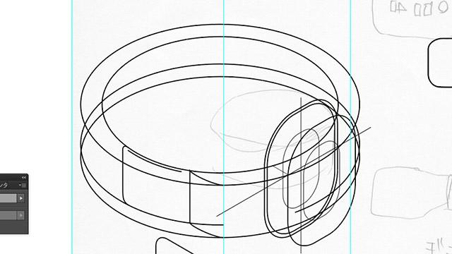 作業中。Illustratorで作成しています。