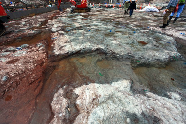 岩盤清掃された場所は溜まった水も澄んでいる