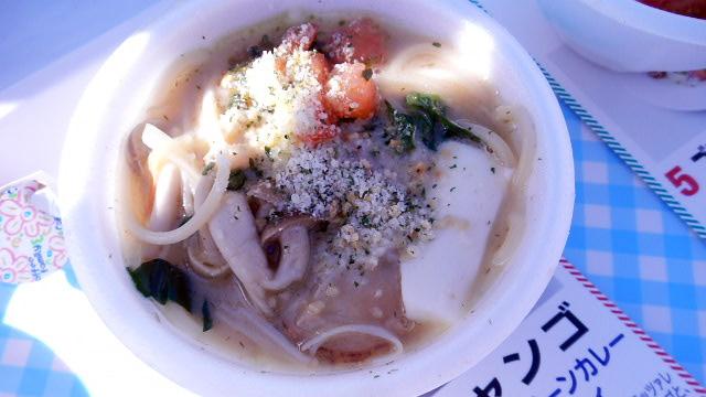 きのこと帆立のグリーンカレー スープスパゲッティ