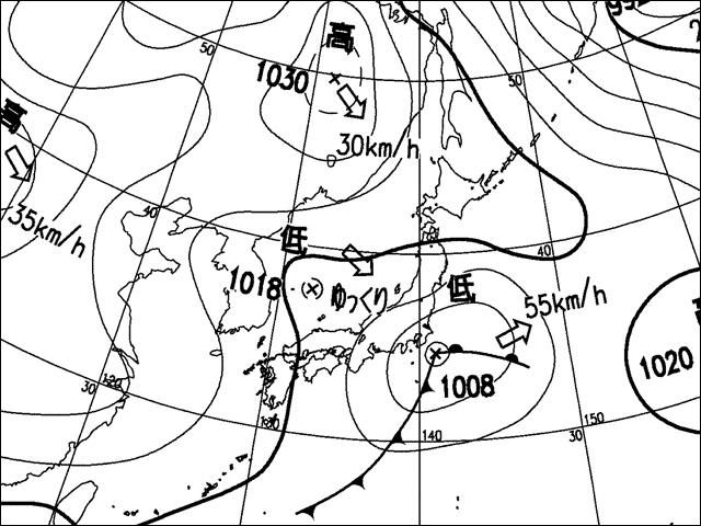 2008年11月25日。気象庁天気図。