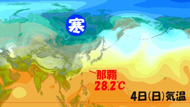 寒気(冬将軍)も北から来ているが、南からは暑い空気も来ている。那覇では28℃超え。今週の勢力争いは?