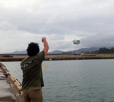 クラゲの捕り方。網で掬うと身体が擦れて壊れてしまうので、バケツを投げ込み海水ごと掬う。