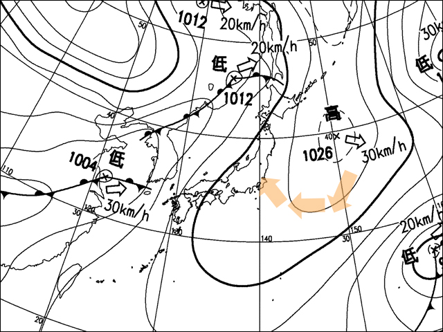 2010年2月25日。気象庁天気図。