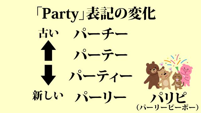パーティーの語形が変化している