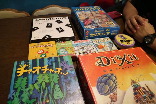今日やるボードゲームはこの中から参加者が自由に選ぶ。