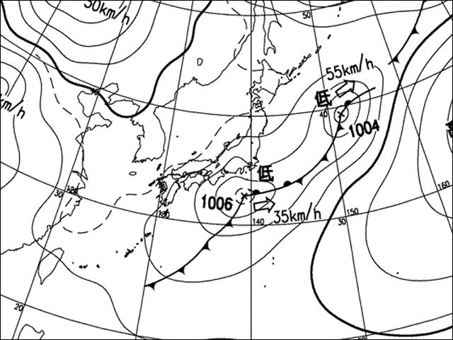 2010年2月28日朝。気象庁天気図。