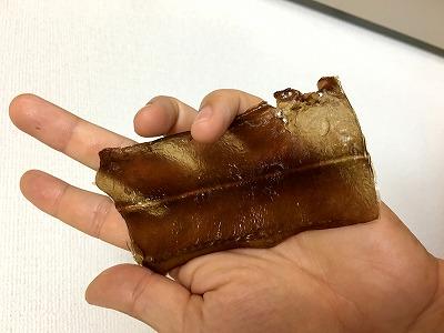 焼きあがった皮は飴のように透き通った。海苔というより昆布に近い印象。