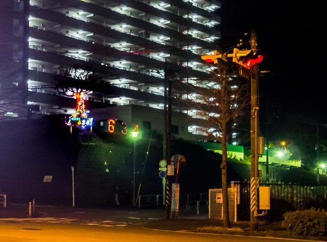 結論から言うと、これが今回確認できた数少ない「年越し浮かれ電飾」の事例のひとつ。元旦の夜に撮影。