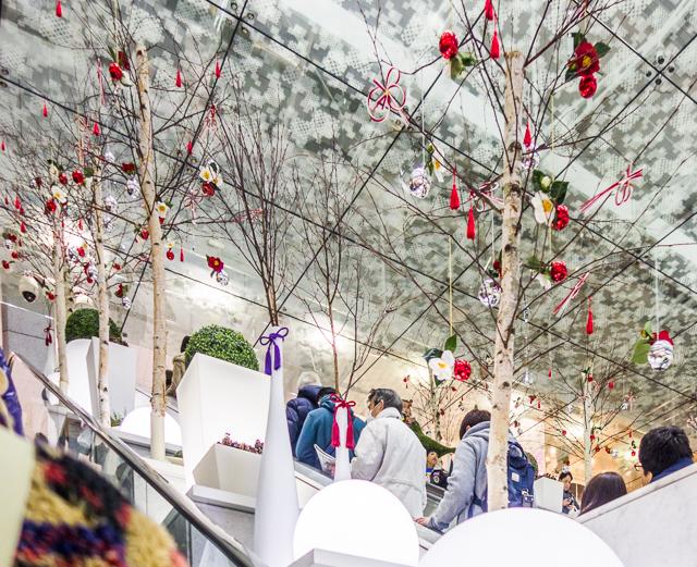 イルミネーションではないが、この商業施設のデコレーションはうまいな、と思った。クリスマス仕様の樹と飾り玉に、水引と紅白の椿などを追加することで正月対応。思えば色的には緑を白に置き換え、赤はそのままで年越しできる。