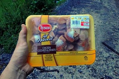鶏のハツとモツを購入。これも脚ウナギに対して実績のある餌らしい。