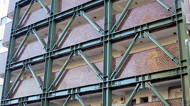 建物の細かい造形を覆って頑強に押さえる鉄骨