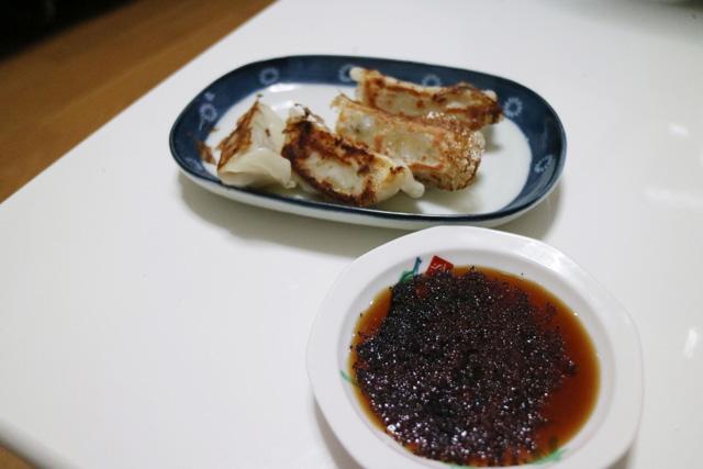 「ゆかり+ポン酢」で餃子を食べる。
