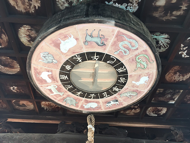 拝殿の天井にはイラスト入りの干支恵方盤がありました。