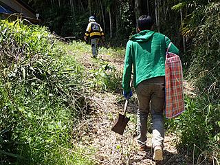 アシックスを羽織った現代版竹取の翁に連れられてタケノコ狩りへとやってきた。