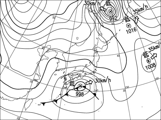 2014年2月8日朝。気象庁天気図。