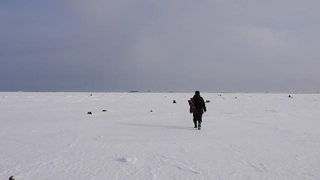 歩きます!(この時期以外、ここは海です!)